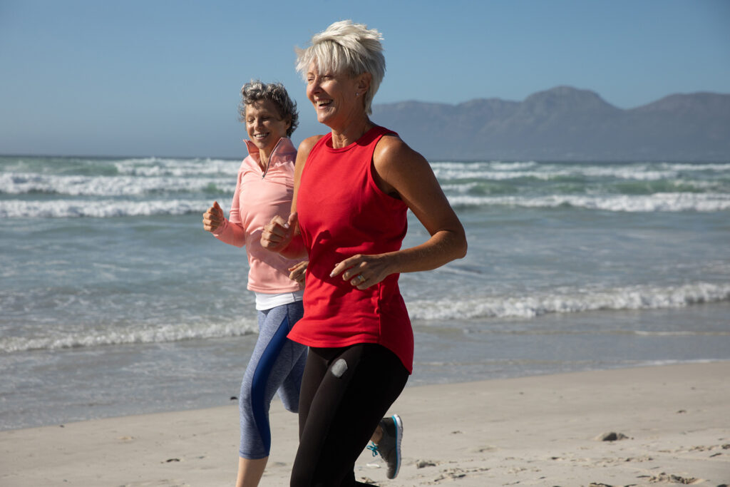 physiotheraphy for seniors running on beach